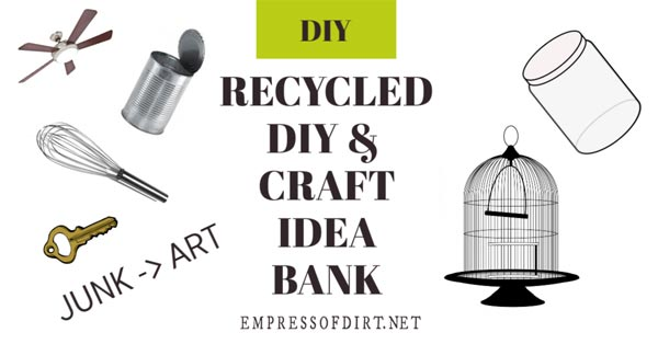 Recycled items for creating garden art.