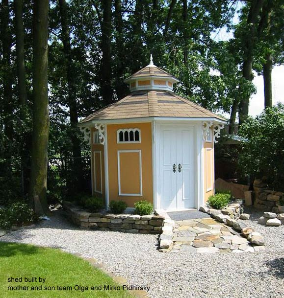 This shed was built by mother and son team Olga and Mirko Pidhirsky