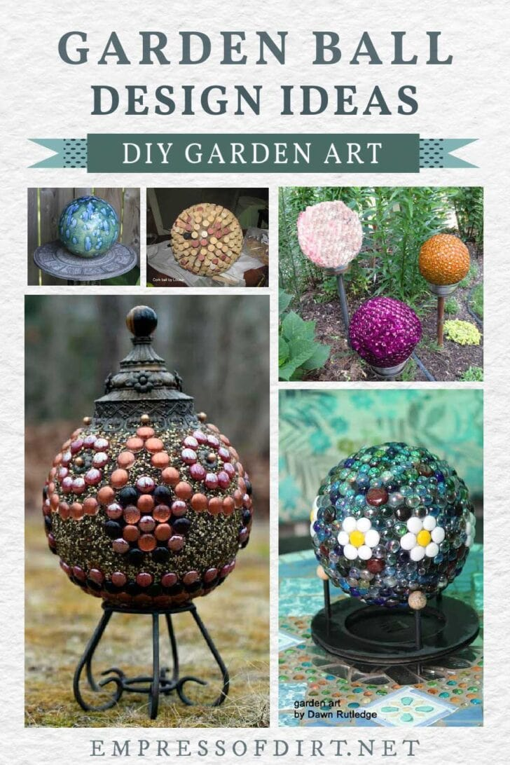 Various styles of decorative garden art balls.