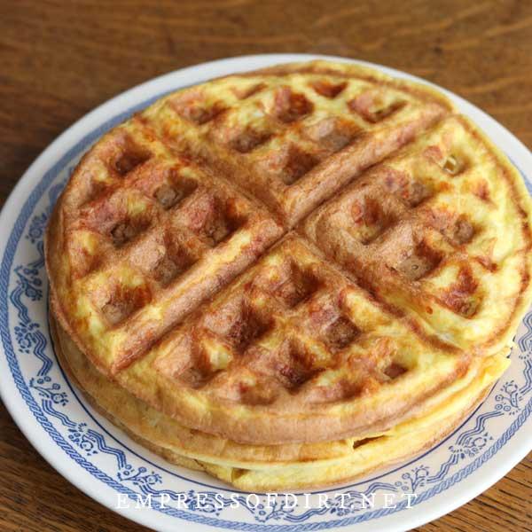 Freshly made chaffles (keto waffles) on plate.