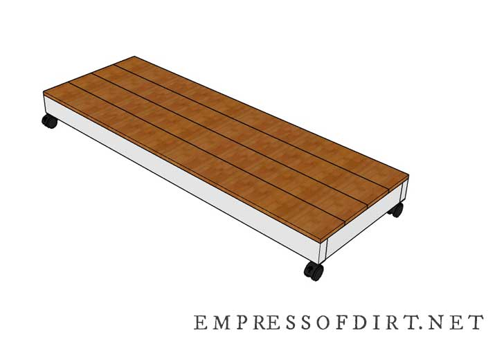 Building plan for base of garden tool storage shed.
