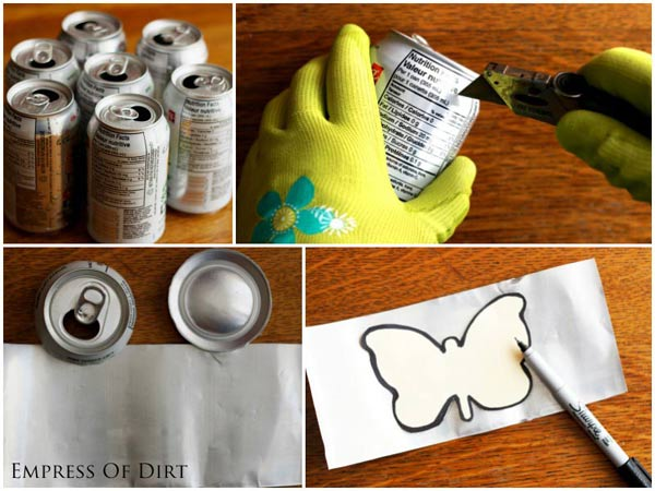 DIY Soda Can Garden Charms. Empty your recycle bin and make some crafts!