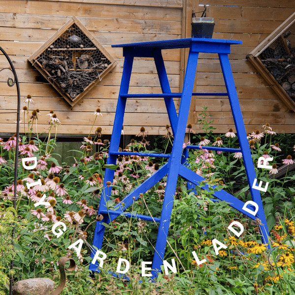 Homemade garden art ladder painted blue.