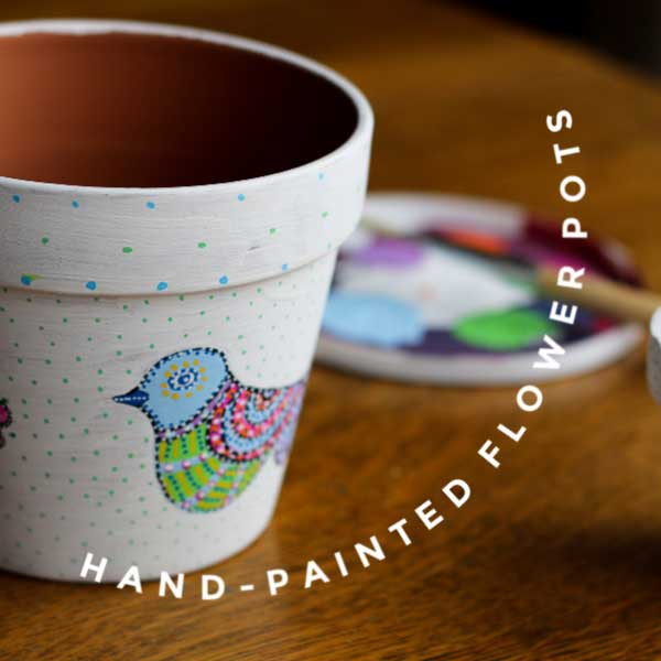 Hand-painted flower pots.