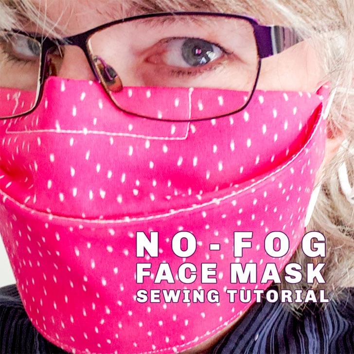 Pink face mask with no-fog embedded nose wire.