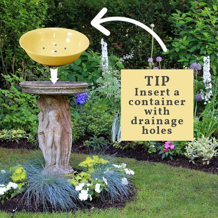 Diagram showing a large bowl with holes in the bottom for use as a birdbath planter.
