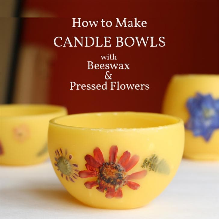 Candle bowls made from beeswax and pressed flowers.