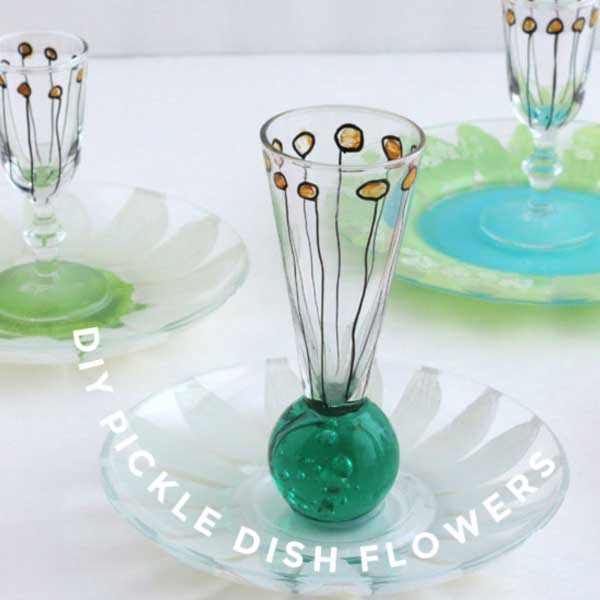 Pickle dish flowers.