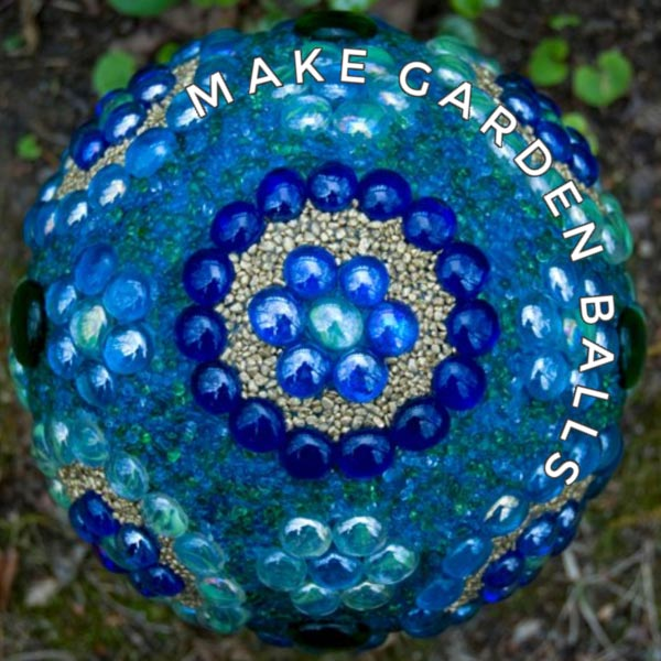 Decorative garden art ball in blue.