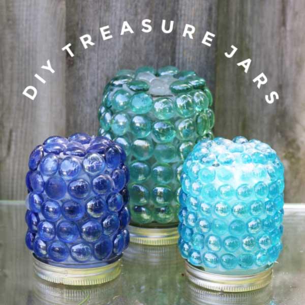 Garden art treasure jars.