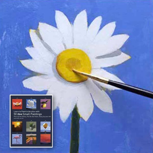 Small painting of a daisy from the book Learn to Paint in Acyrlics with 50 More Small Paintings.