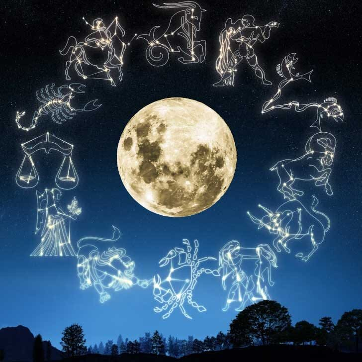Large moon in the night sky surrounded by drawings of constellations.
