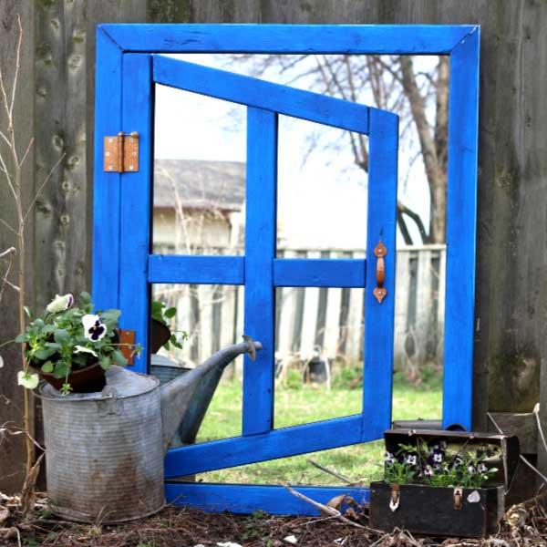 Optical illusion garden art mirror.