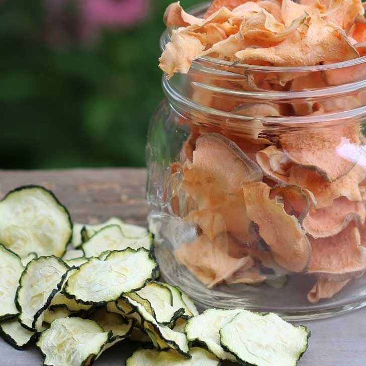 Baked vegetable chips made from zucchini and sweet potato.