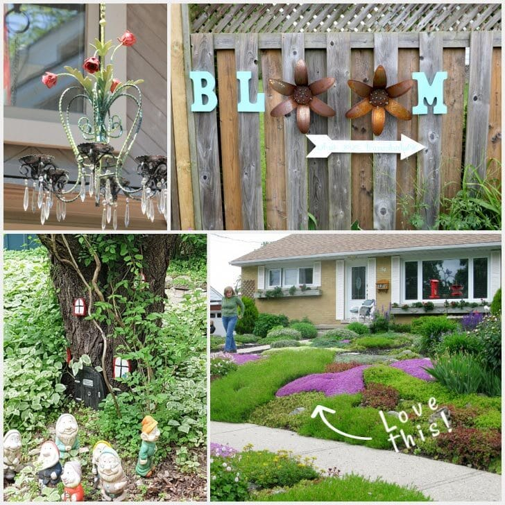 Photo collage of various garden ideas including a painted tulip chandelier, sign saying 'bloom', tree stump with garden gnomes, and front garden with ground covers instead of grass lawn.