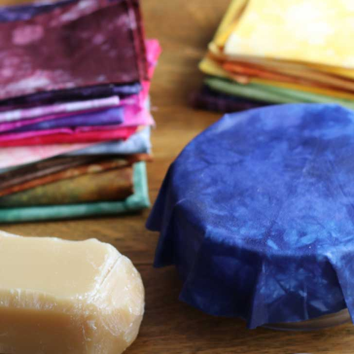 Homemade beeswax wraps for covering food leftovers.