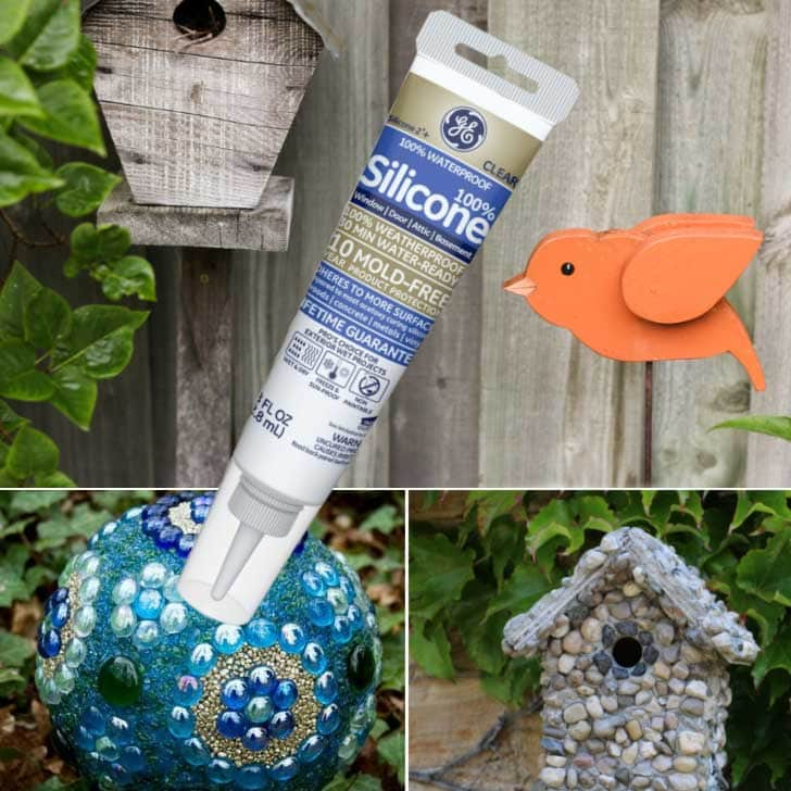 Garden art and glue tube.