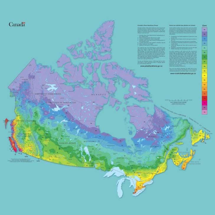 Canadian plant hardiness zone map.