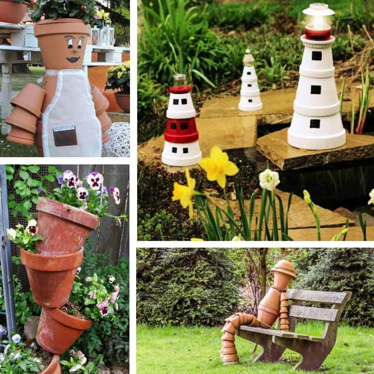 Crafts made from clay pots including a person and lighthouse.
