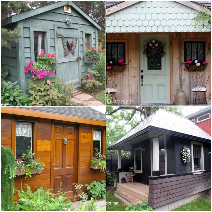 4 examples of garden sheds in the garden.