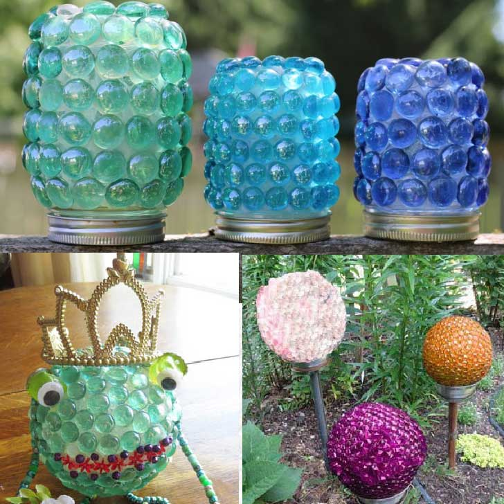 Examples of crafts made from glass gems including treasure jars.