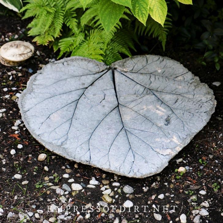 Large leaf-shaped hypertufa garden stone.