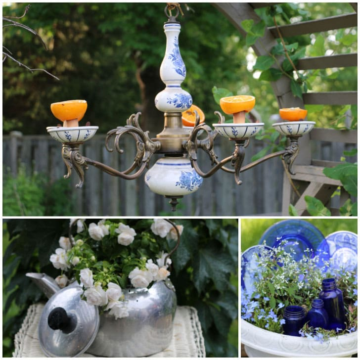 Garden art made from repurposed kitchen items including a chandelier and kettle.