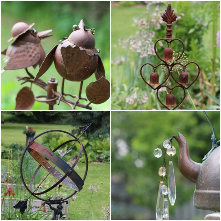 Examples of rusty garden art including bird statues.