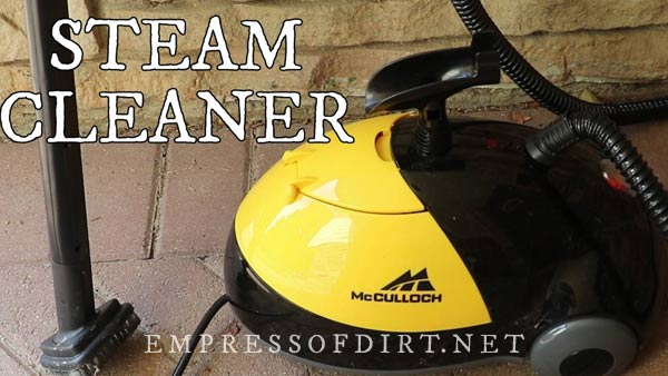 Removing weeds with a steam cleaner.