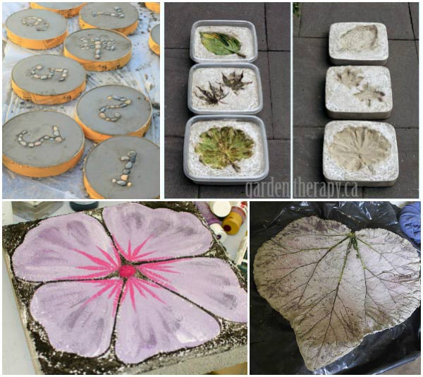 Examples of homemade stepping stones for the garden.