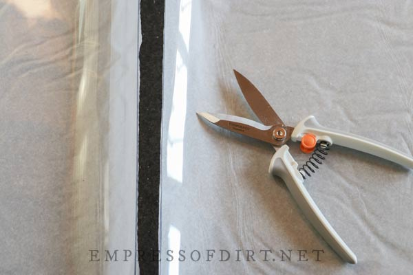 Scissors for cutting vinyl sheeting.