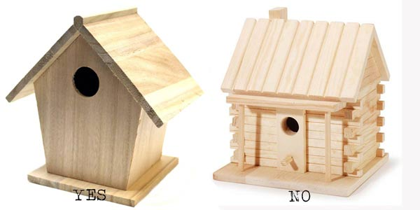 Examples of wood birdhouses. The one on the left is a good choice for a stone birdhouse base. The one on the right has too many details and would be difficult to work with.